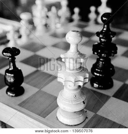 Black and white Detail chess black and white