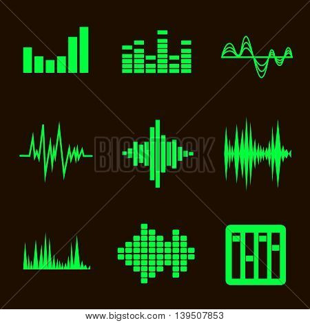 music green soundwave icon set on black background