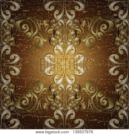 Floral pattern on brown and yellow round gradient background. Vector illustration.