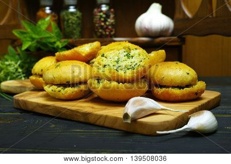 Bread toasts with basil chives and garlic rustic style