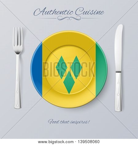 Authentic Cuisine of Saint Vincent and the Grenadines. Plate with Flag and Cutlery