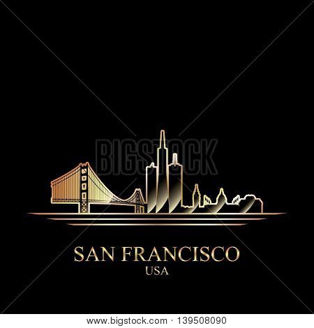 Gold silhouette of San Francisco on black background vector illustration