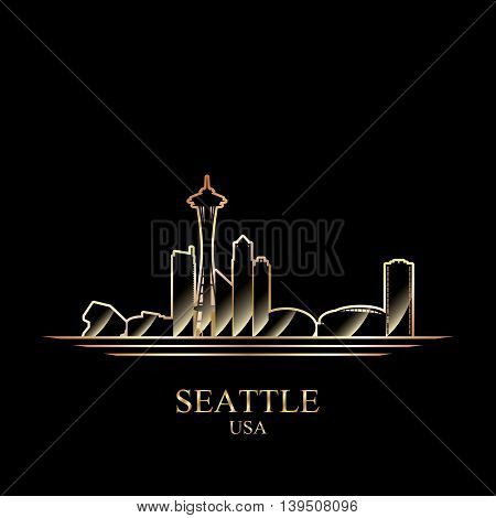 Gold silhouette of Seattle on black background vector illustration
