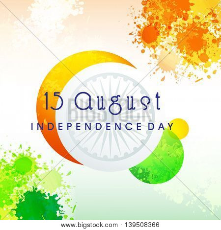 Elegant Greeting Card with abstract design for 15 August, Happy Indian Independence Day celebration.