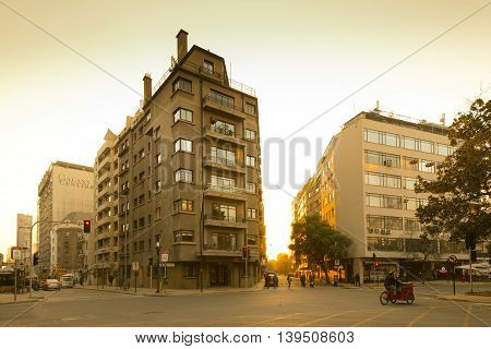 Santiago Region Metropolitana Chile - June 07 2016: A view of Bellas Artes neighborhood one of the most traditional residential neighborhoods of Santiago.