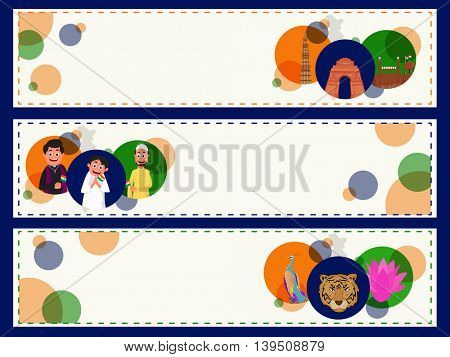Creative website header or banner set with illustration of Indian Famous Monuments, Different Religion People and Indian National Symbols for Independence Day celebration.