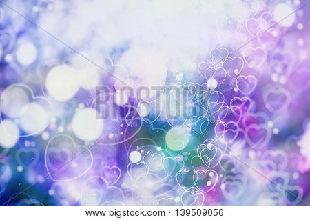 Festive background with natural bokeh and bright purple lights. Vintage Magic background with colorful bokeh.