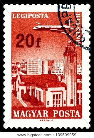 STAVROPOL RUSSIA - June 28 2016: A stamp printed in Hungary shows plane flying over Helsinki circa 1966