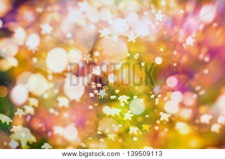 Festive background with natural broken and bright lights. Vintage Magic background with colorful broken.