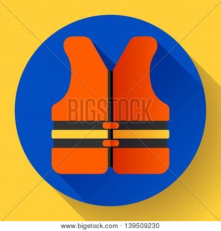 life safety jacket vest icon flat 2.0 vector. safety in water.