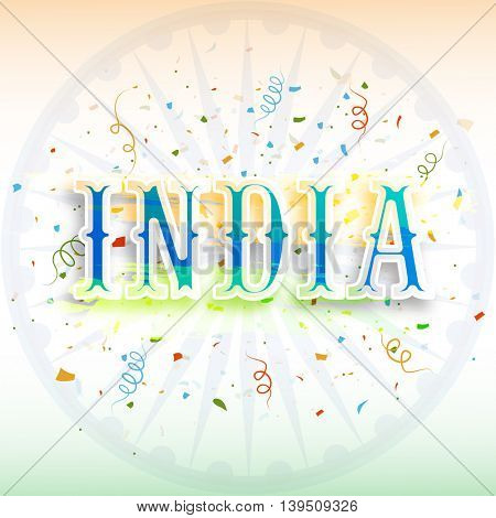 Creative Text India on Ashoka Wheel decorated background for Happy Indian Independence Day and Republic Day celebration.