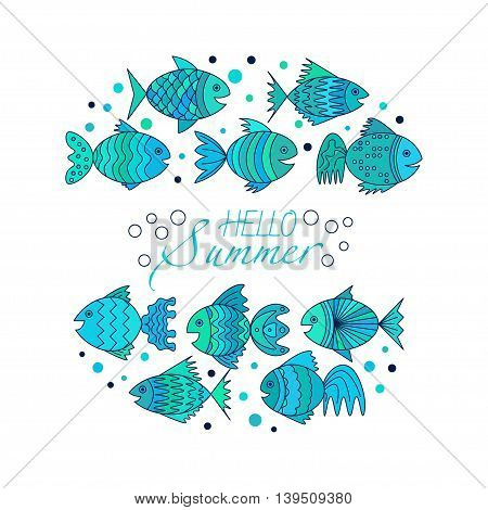 frame for text with fish. Vector. Abstract