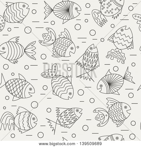 vector seamless pattern with sea fish. abstract