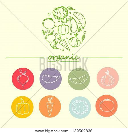 Vector logo design template with vegetable icons in trendy linear style - abstract emblem for organic shop, healthy food store or vegetarian cafe
