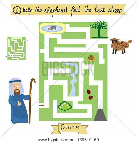 Homework for kids How to pass the maze from shepherd to lost sheep. Bible lesson. Sunday school.
