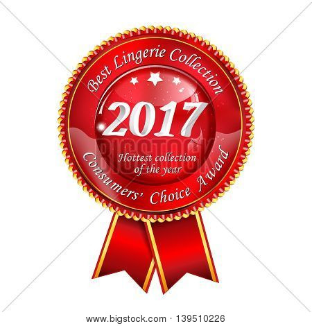 Best lingerie collection. Consumer's choice award 2017 -  red award ribbon for lingerie shopping stores and businesses.