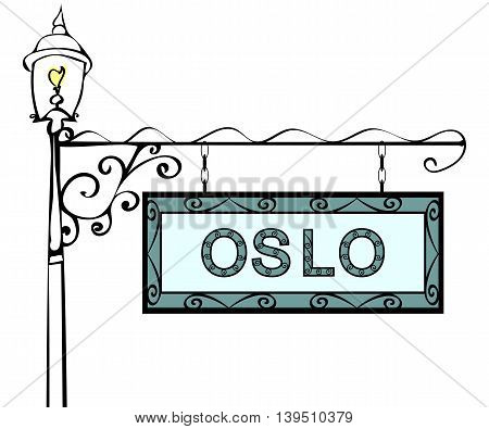 Oslo retro pointer lamppost. Oslo Capital Norway tourism travel.