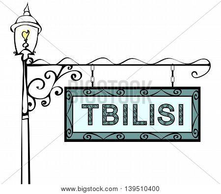 Tbilisi retro pointer lamppost. Tbilisi Capital Georgia tourism travel.