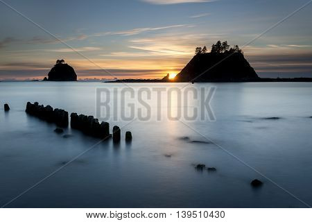 The stacks of first beach at sunset in La Push Washington.