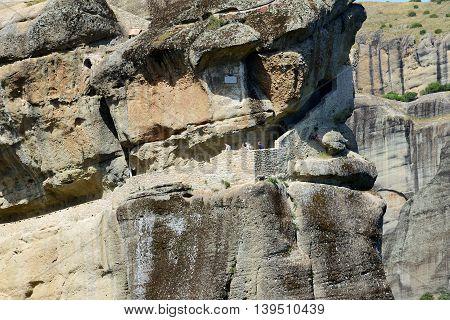 The pass to Monastery of Holy Trinity Meteora Greece