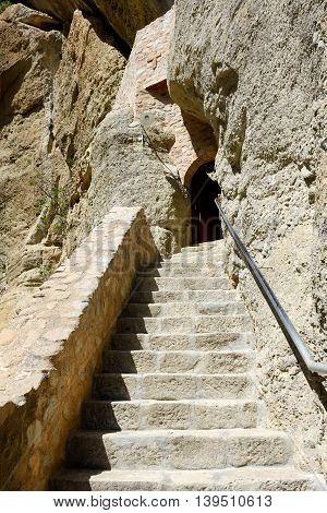 The stairs to Monastery of Holy Trinity Meteora Greece