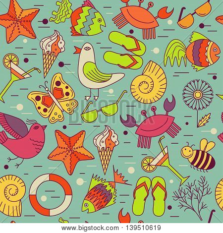 Vector seamless patterns for the summer theme