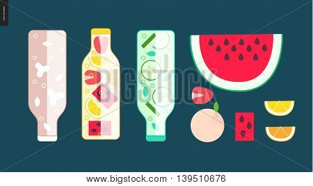 Three bottles and some fruit - cartoon vector illustration of bottles filled with chocolate milk, fruit lemonade and cucumber water, slice of watermelon, lemon and orange, strawberry, and whole peach
