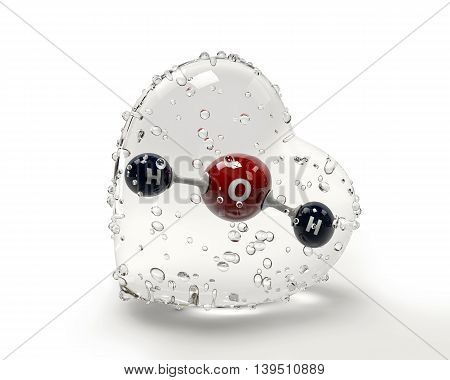 A 3D Illustration molecule of water with a condinsation heart on a white background