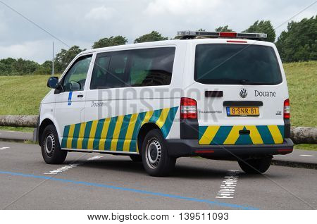 Almere, The Netherlands - July 11, 2016: Dutch Douane Customs van standing in a public parking lot.
