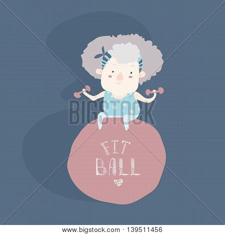 Elderly woman doing fitness with fitball. Vector illustration
