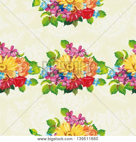 Seamless pattern with colorful gerbera flowers Vector Illustration EPS8
