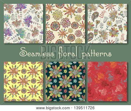 Seamless vector floral pattern set. set for your design