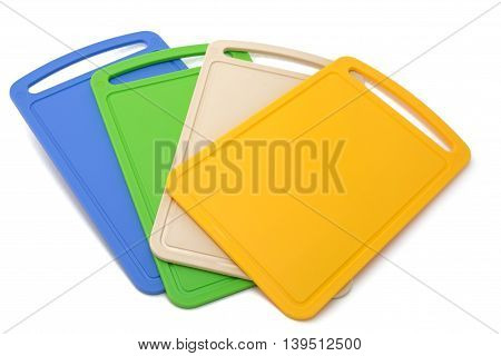 Color cutting boards isolated on the white background
