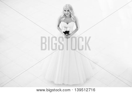 Elegant Blonde Blue Eyes Fashion Bride At Great Wedding Hall. Black And White