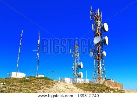 antennas on the top of the mountain