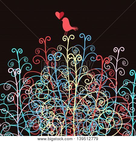 Abstract multi-colored pattern on a black background with a bird in love