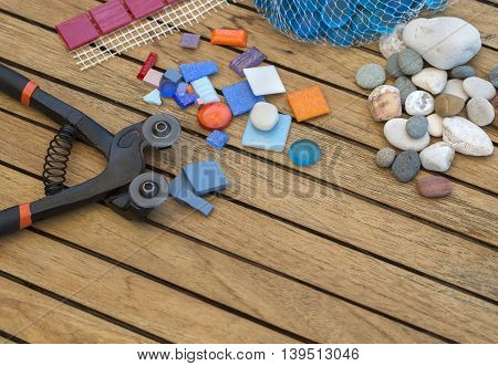 the items for decorating with mosaics background