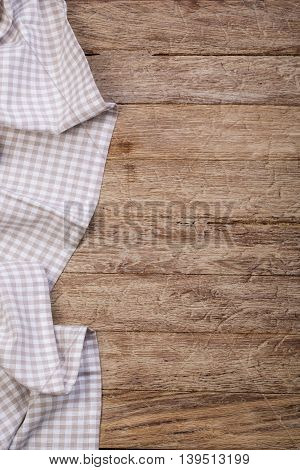 the tablecloth on wooden table background with copy space