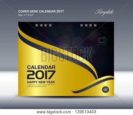 Desk Calendar for 2017 Year Cover Desk Calendar template gold cover design