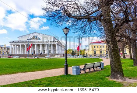 On the Birzhevaya Ploshchad (Exchange Square) in Saint-Petersburg Russia