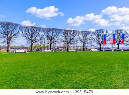 View from the Spit of Vasilyevsky Island in St. Petersburg Russia