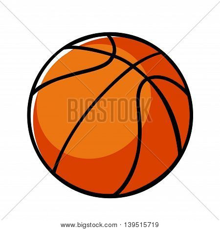 Doodle illustration of a basket ball isolated on white