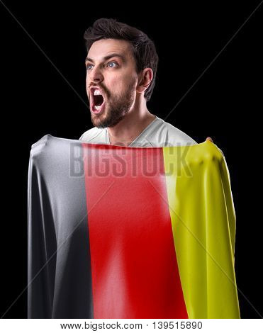 Athlete holding the flag of Germany
