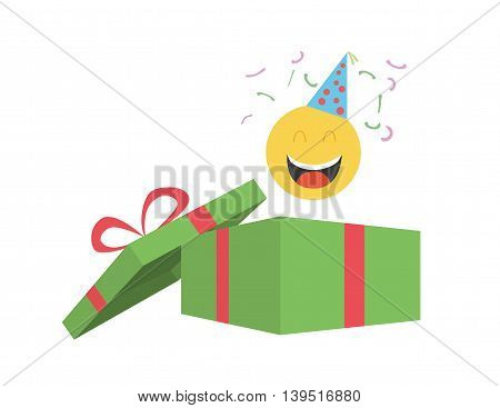 Party emoticon coming out of gift box with confetti and party hat.