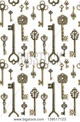 Seamless pattern antique bronge keys isolated on white background