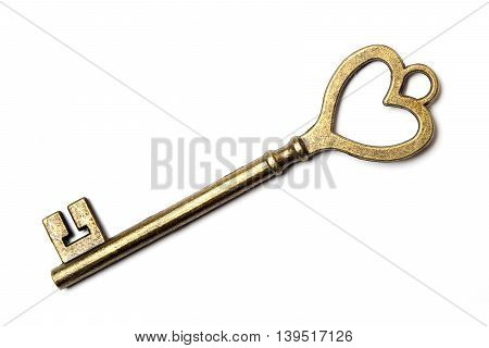 Antique bronze skeleton key isolated on white background