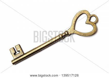 Antique bronze skeleton key isolated on white background