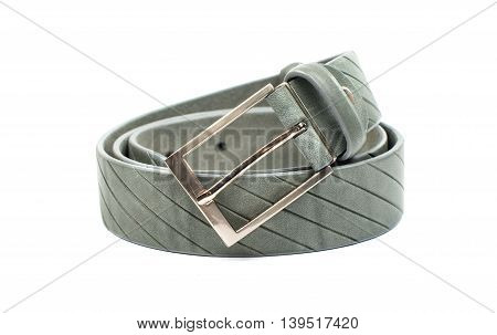 men's leather belt on a white background