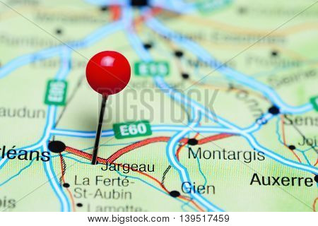 Jargeau pinned on a map of France