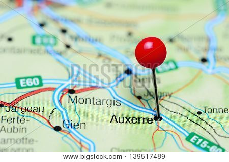 Auxerre pinned on a map of France